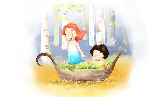 мальчик из девочкой на лодке картинки