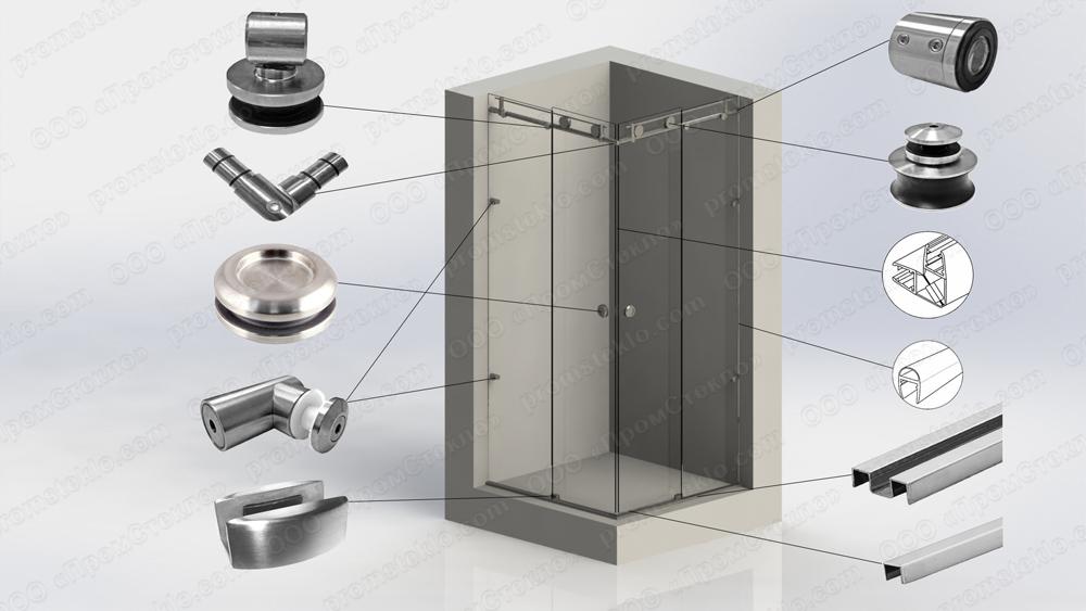 Перегородка душевая угловая с откатной дверью на системе Акваслайдер 15