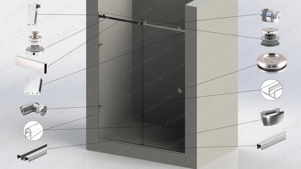 Перегородка душевая прямая с откатной дверью Акваслайдер 18