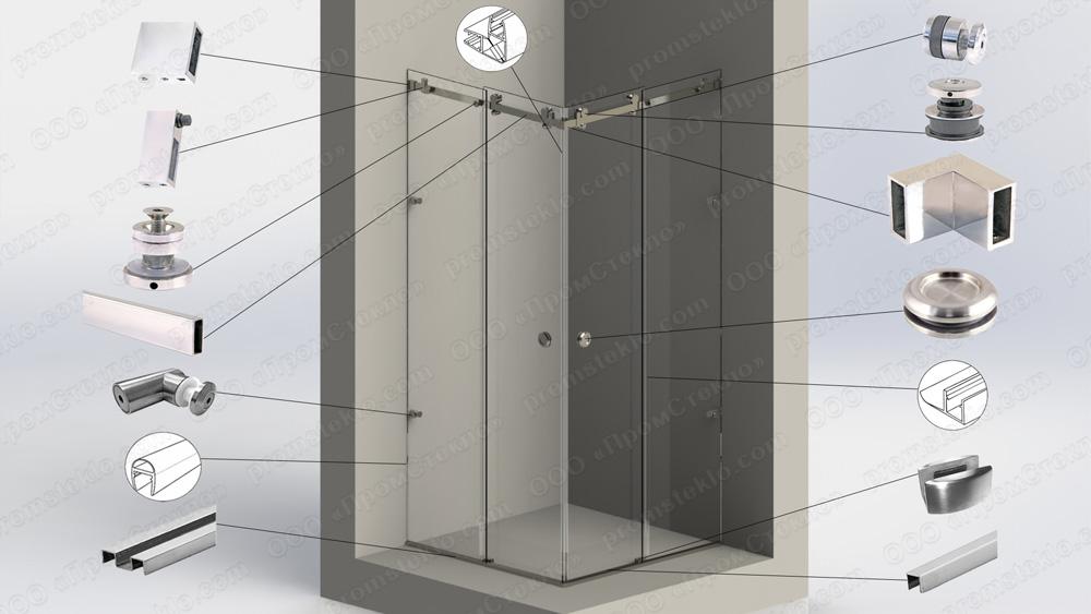 Перегородка душевая угловая с откатной дверью на системе Акваслайдер 19