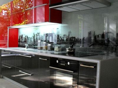 кухня со стеклянными фасадами